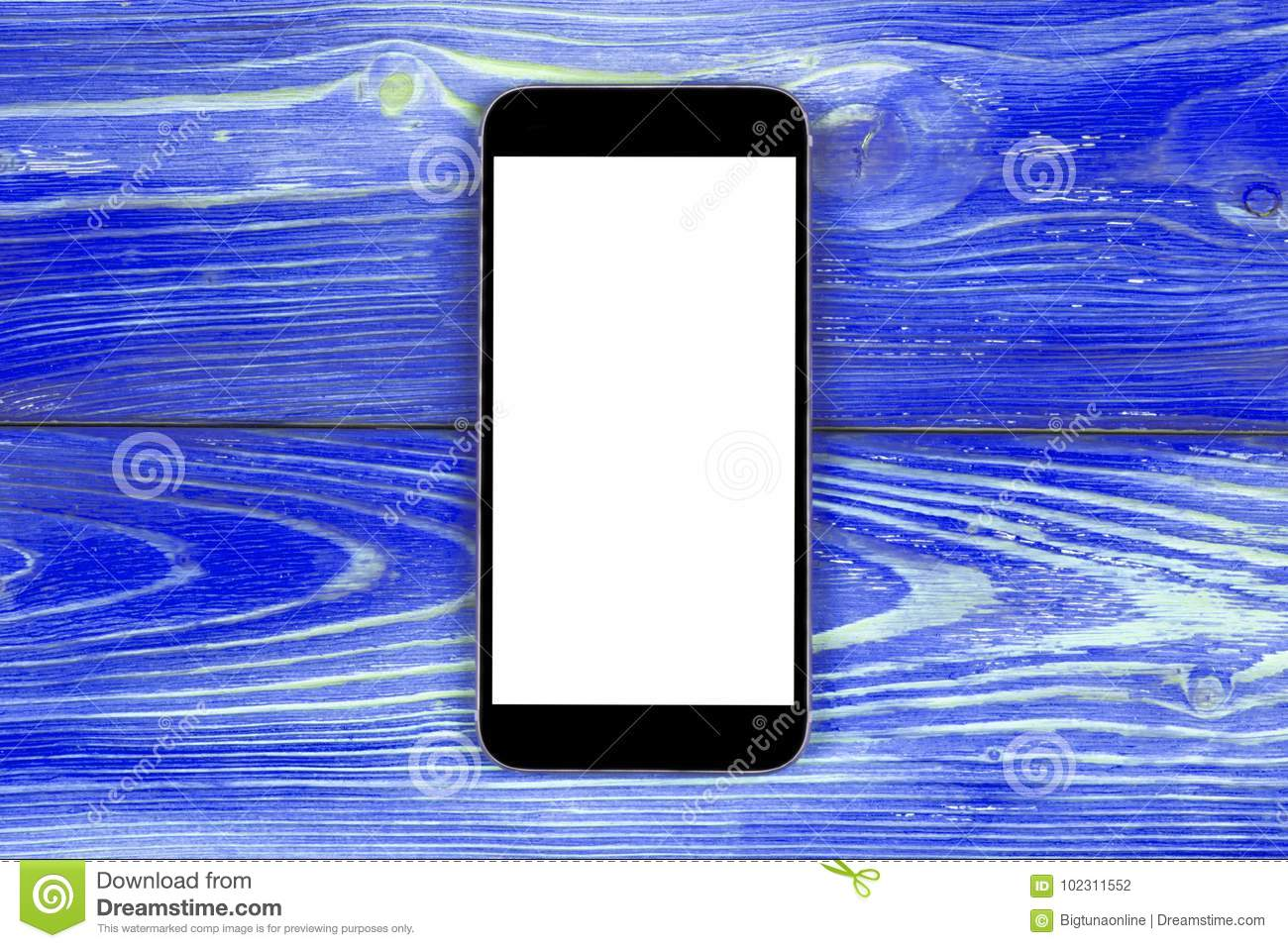 Mobile Phone With Blank Screen Mock Up On Blue Wood Table Background