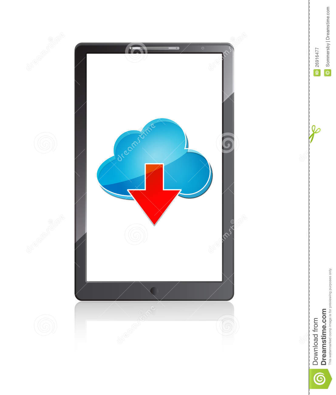 c1415fdb5 Mobile phone with blue cloud computing icon and red arrow on a white  background. More similar stock illustrations