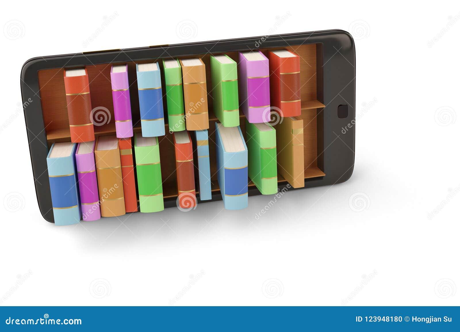Mobile Phone With Bookshelf E Book Library Concept 3d Illustrati