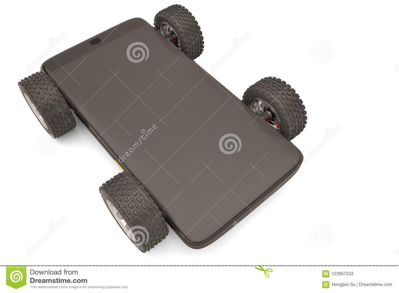 Mobile Phone Car On A White Background 3d Illustration Stock