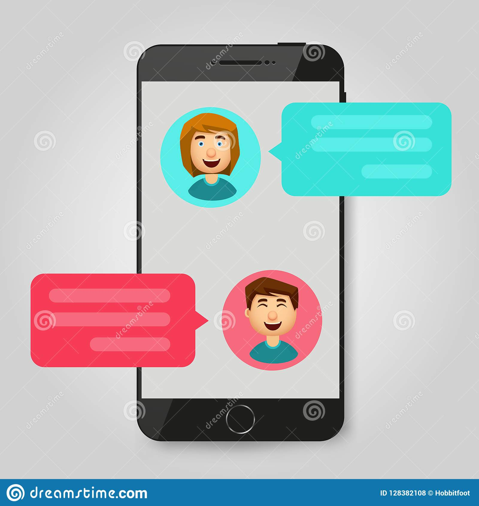 Mobile phone chat message notifications. Chatting bubble speeches, concept of online talking, speak, conversation, dialog. Vector