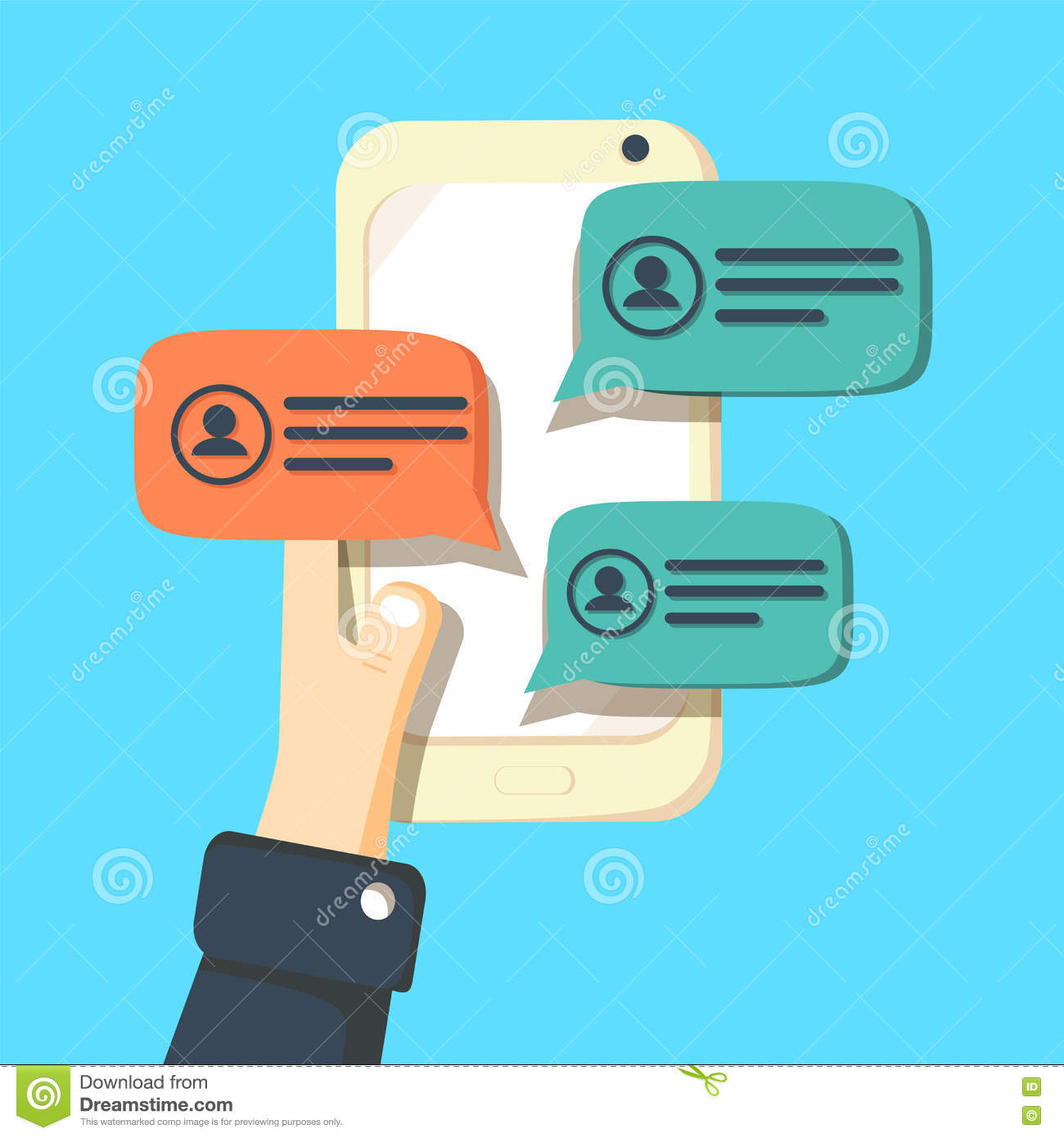Mobile phone chat message notifications vector illustration