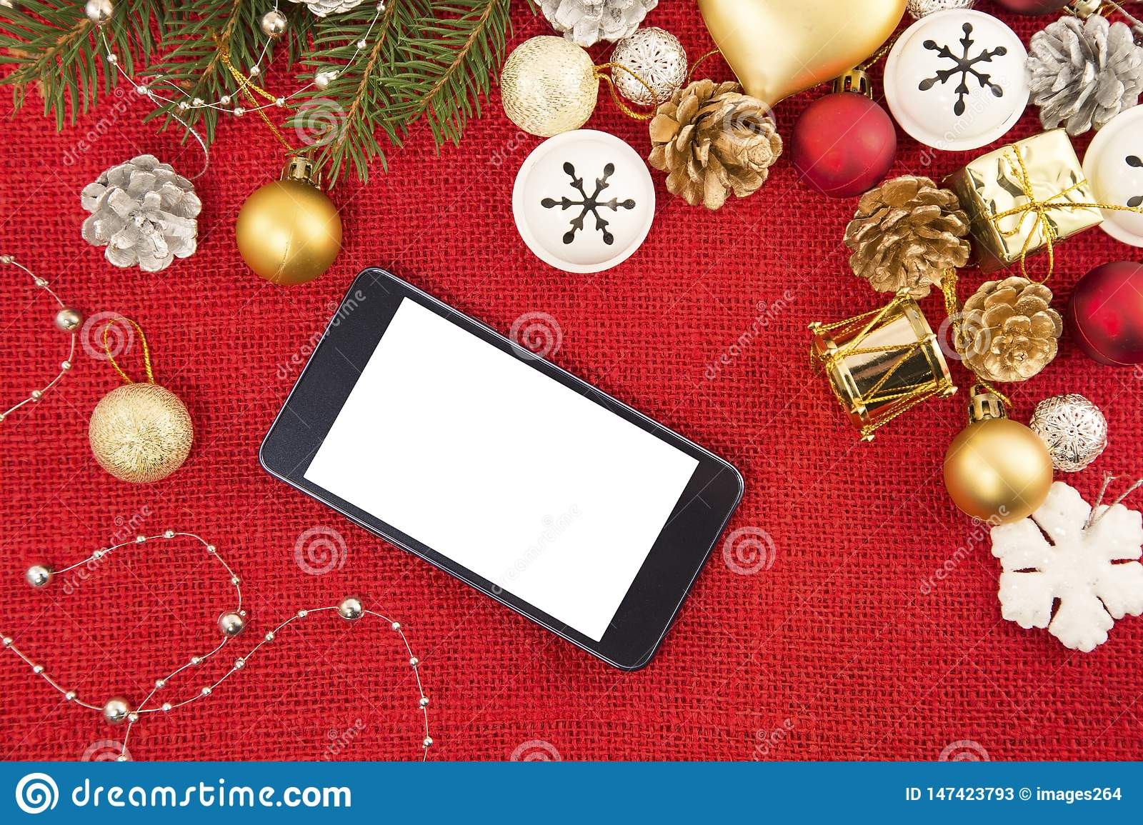 Mobile phone and the Christmas decoration