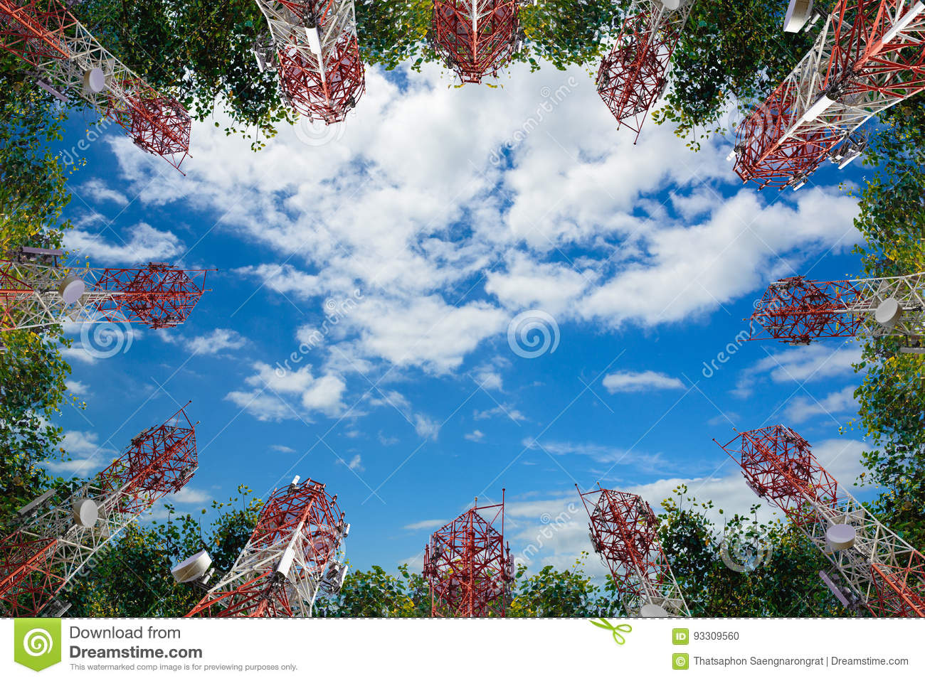 Mobile phone communication antenna tower and tree with cloud blu