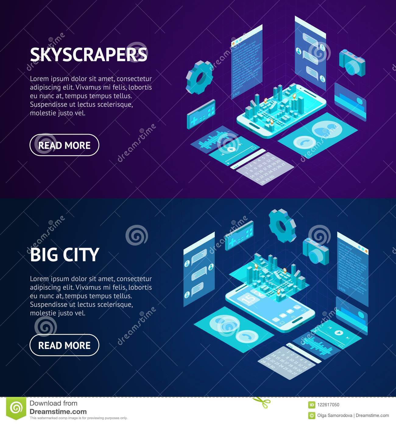 Mobile Phone Concept Banner Horizontal Set 3d Isometric View