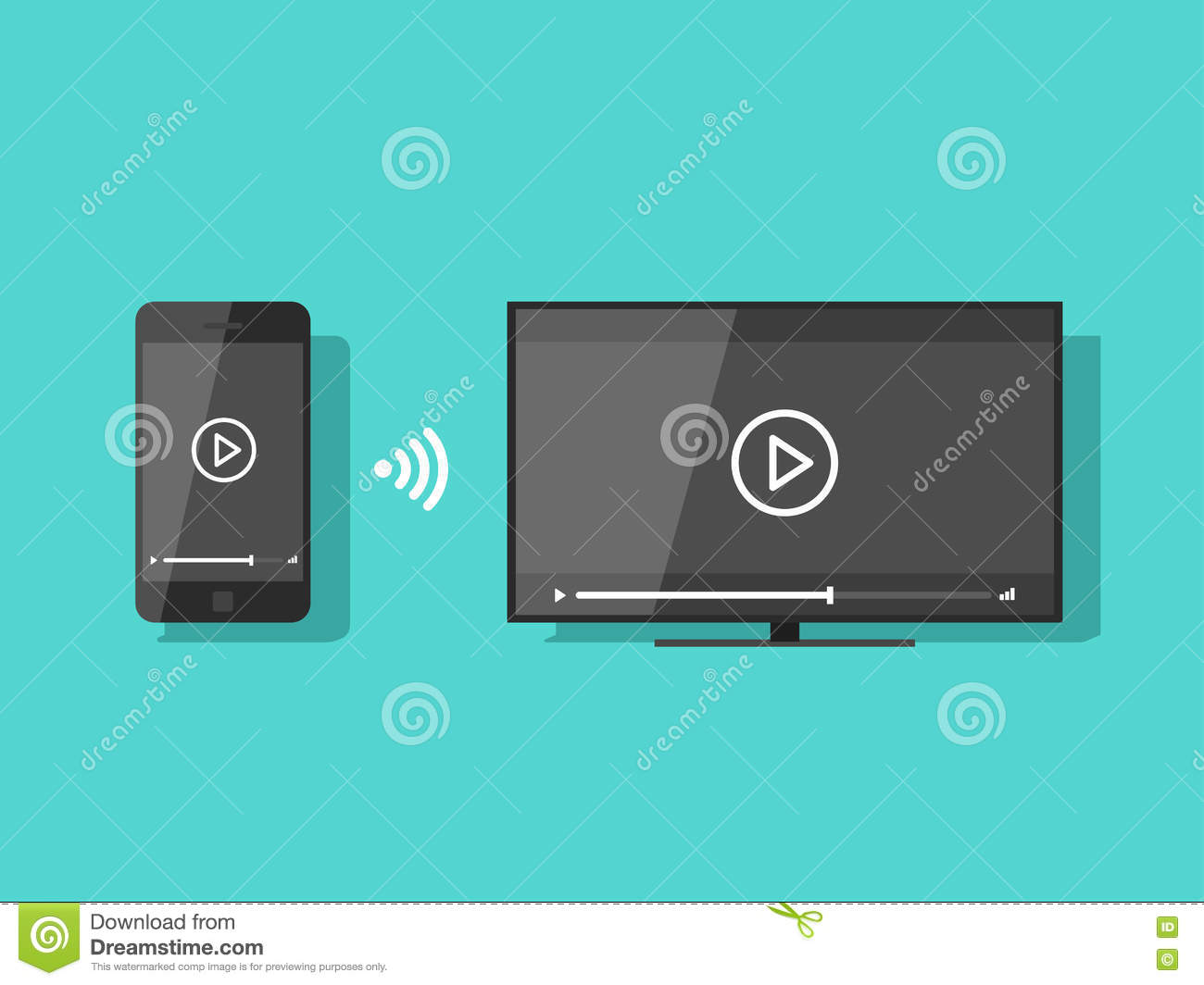 Mobile Phone Connected To TV Streaming Video Vector Illustration ...