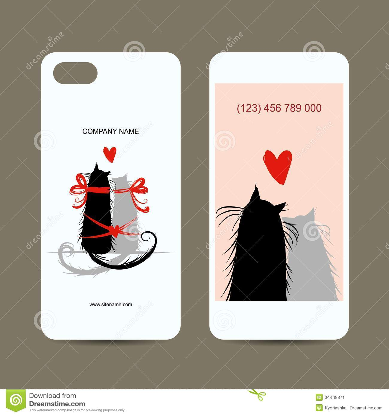 Mobile Phone Cover Back And Screen Love Cats For Stock Vector Illustration 34448871