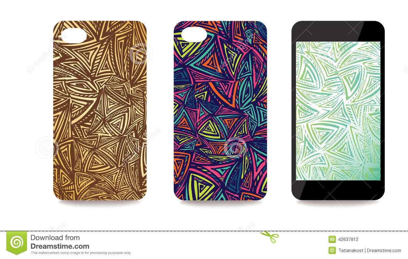 Mobile Phone Cover Back And Screen Set With Abstract Stock Vector Image 42637812
