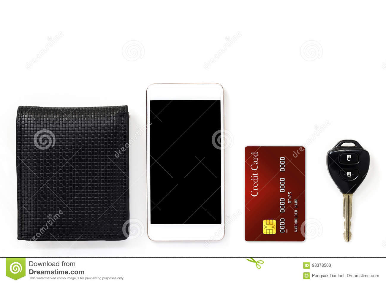 mobile phone and credit card key and wallet isolated on
