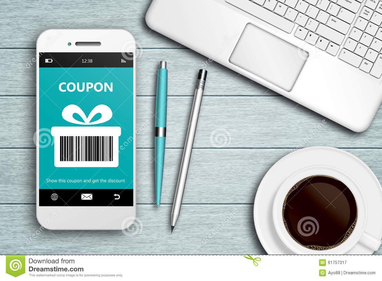mobile phone with discount coupon computer and coffee stock illustration image 61757317. Black Bedroom Furniture Sets. Home Design Ideas