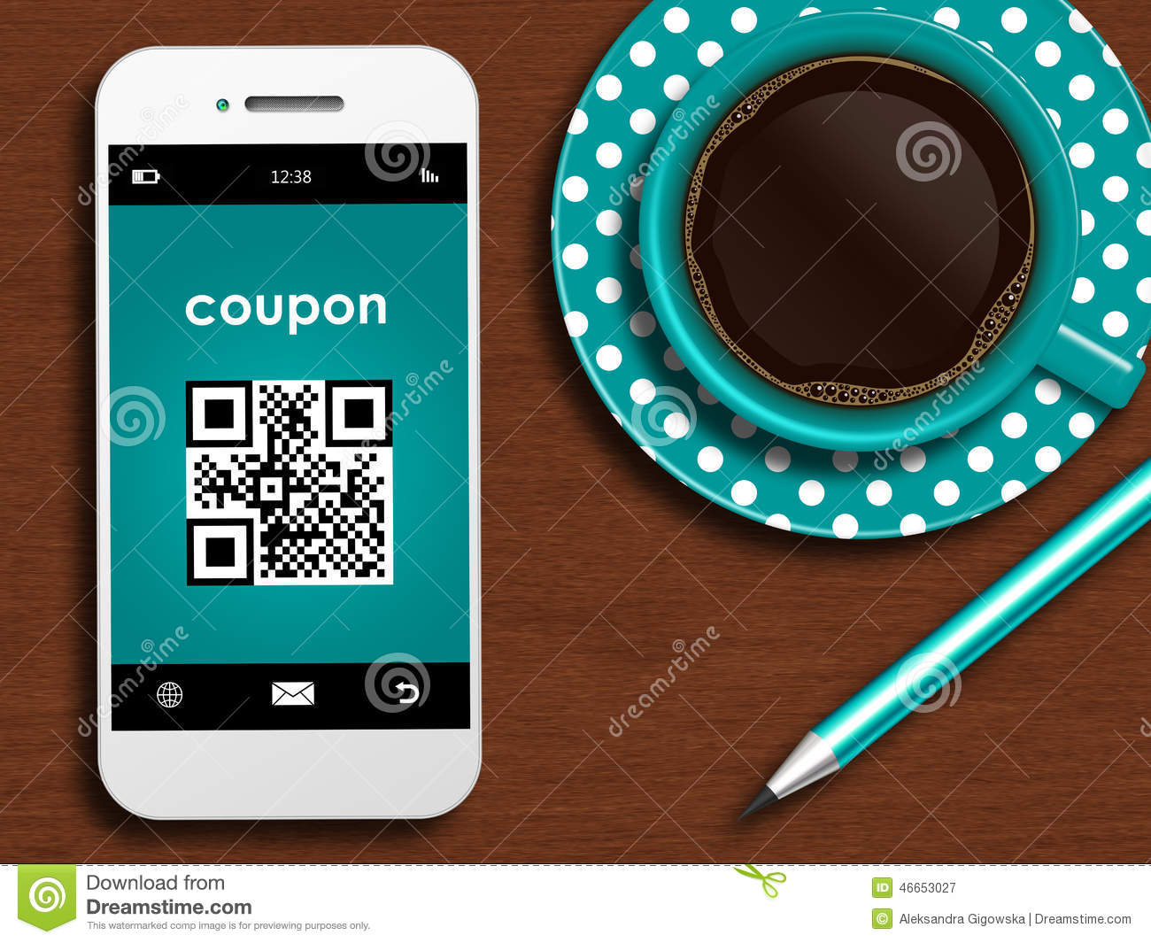 mobile phone with discount coupon cup of coffee and pencil lyin stock illustration image. Black Bedroom Furniture Sets. Home Design Ideas