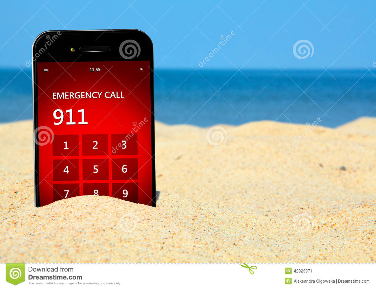 Mobile Phone With Emergency Number 911 On The Beach Stock Image - Image of assistance, line