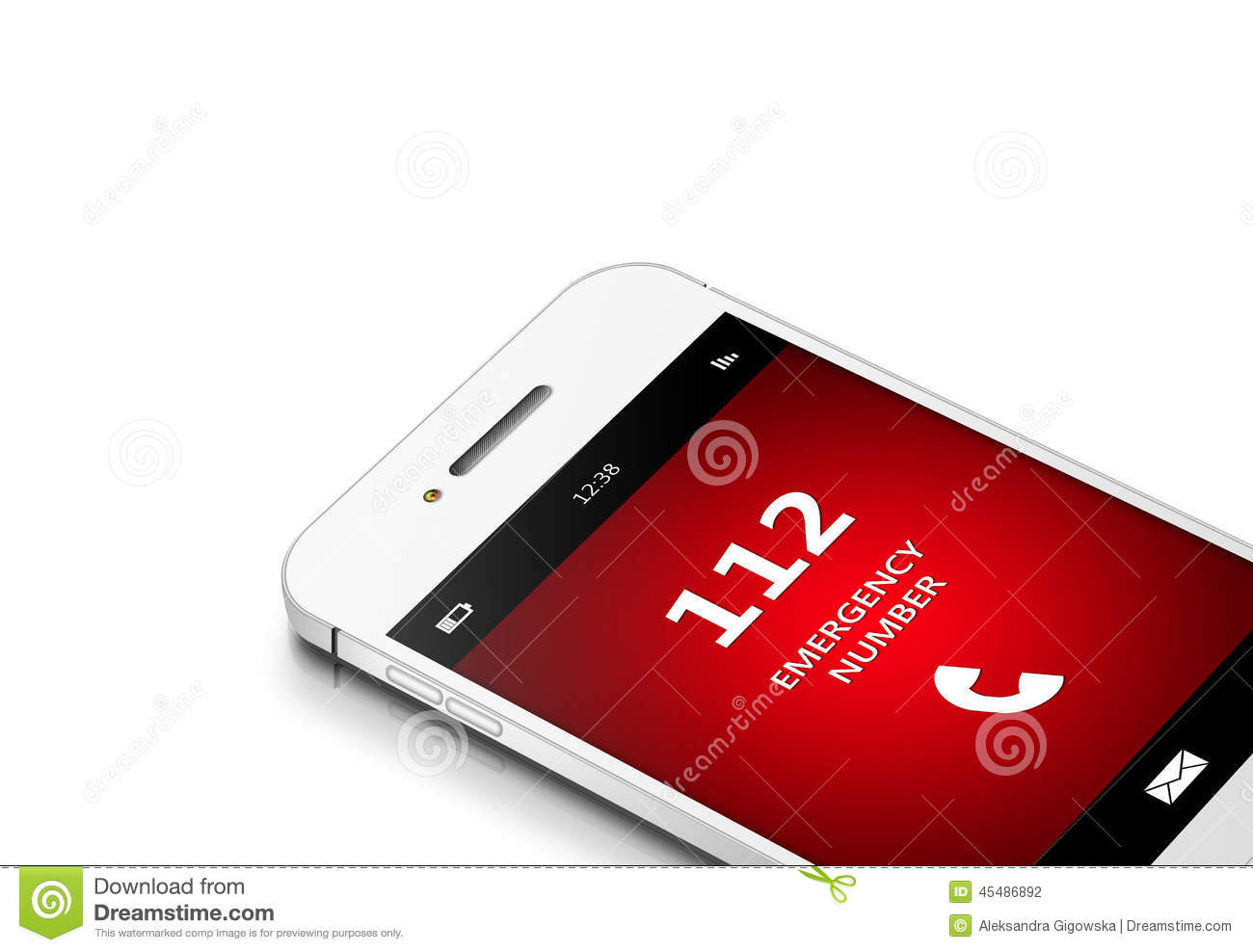 Mobile phone with 112 emergency number over white