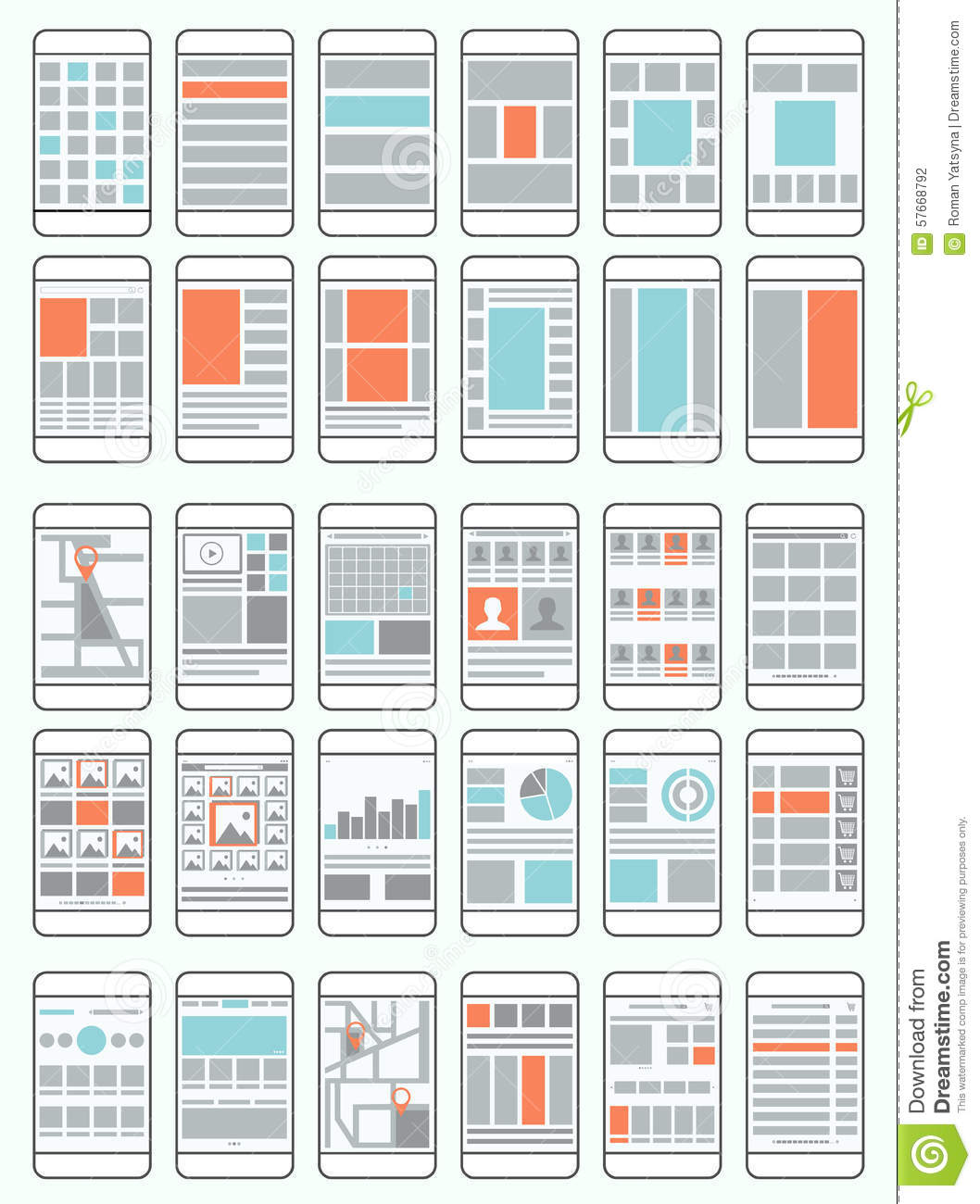 Mobile phone flowcharts, wireframes