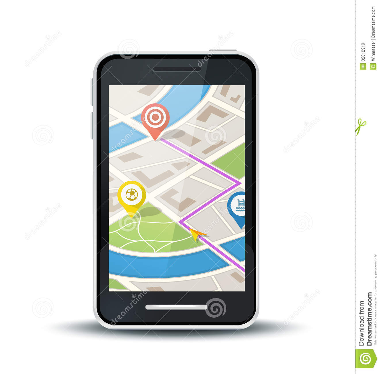 mobile phone with gps map application royalty free stock