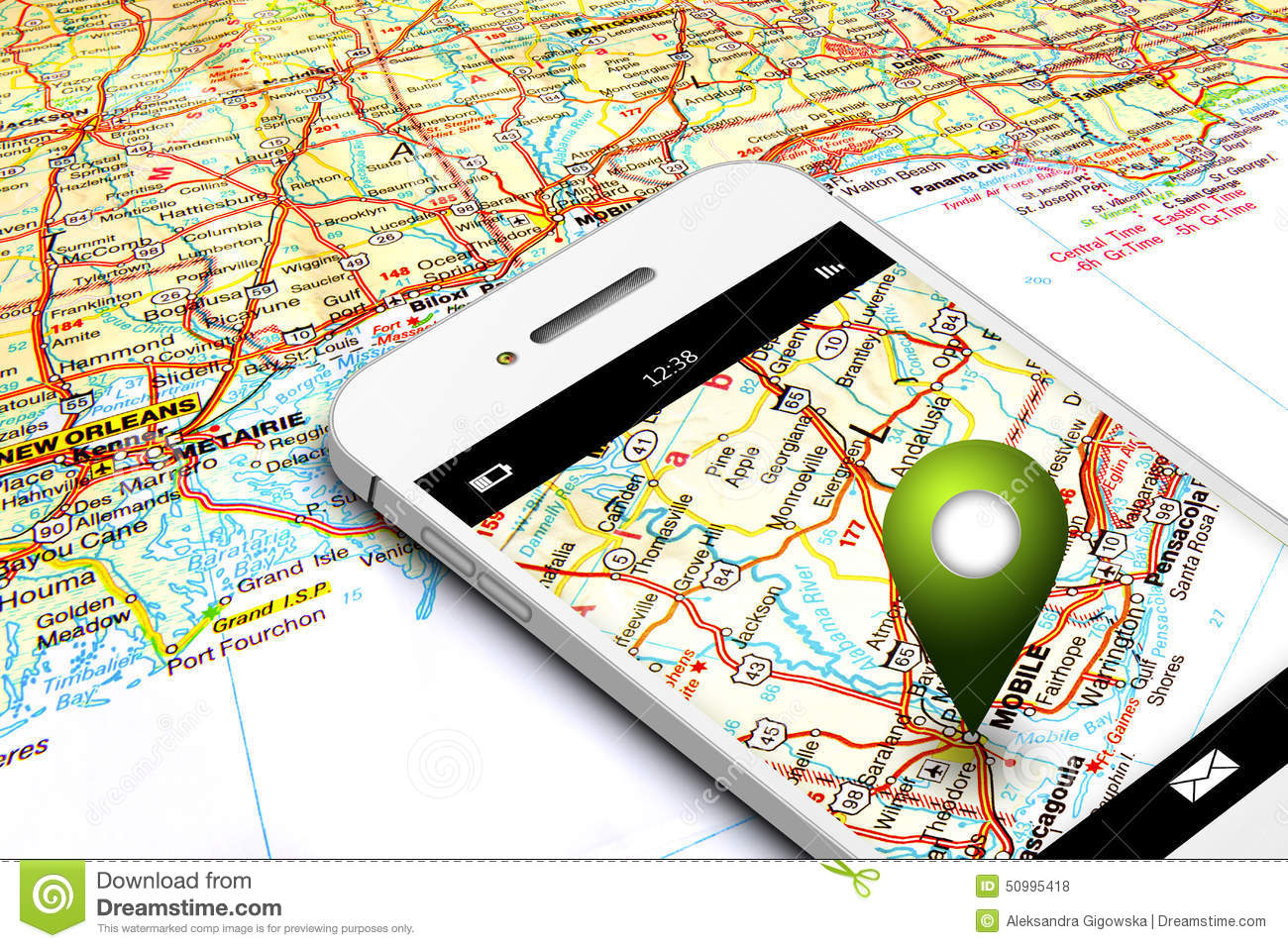 Mobile Phone With Gps And Map In Background Royalty Free Stock Image Cartoondealer Com 50996476
