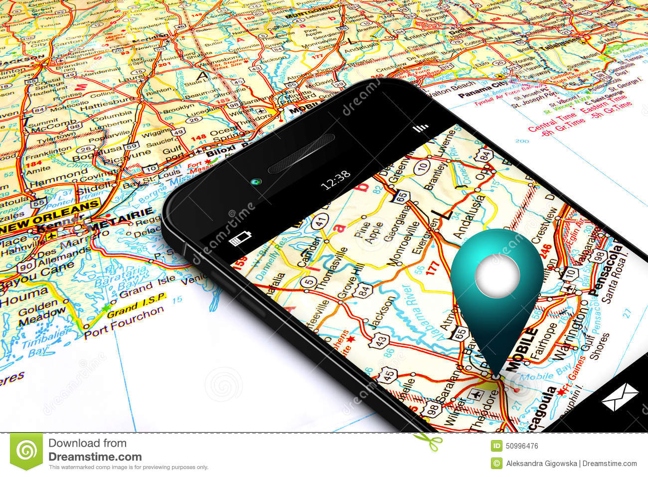 Mobile Phone With Gps And Map In Background Stock Photo ...