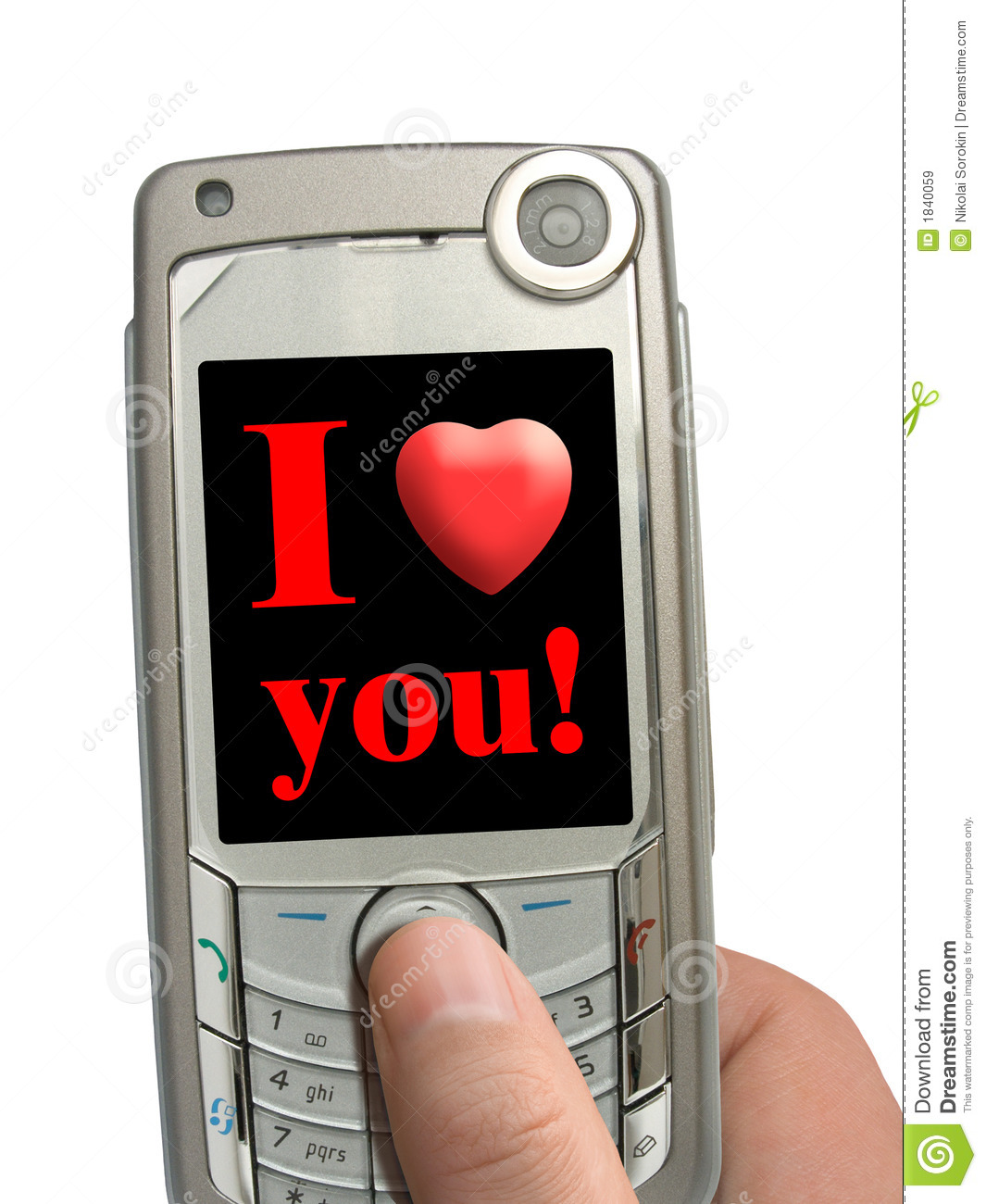 mobile phone in hand i love you on display stock image On for you mobel