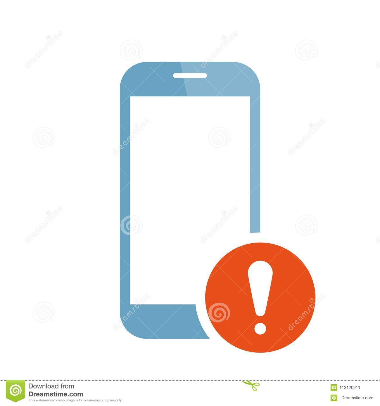 Mobile Phone Icon With Exclamation Mark Mobile Phone Icon And Alert