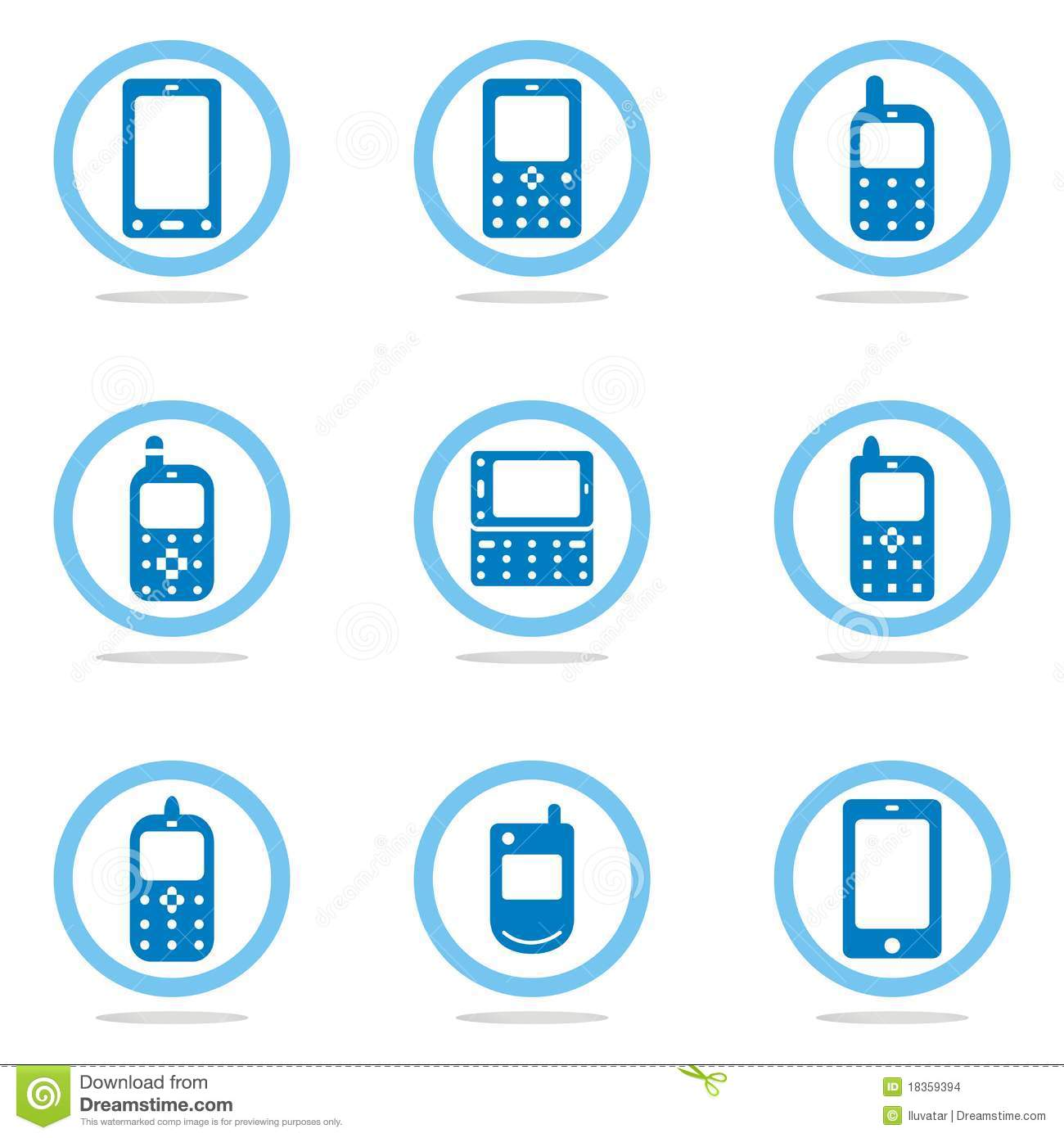 Mobile phone icon set stock vector. Image of mobile ...