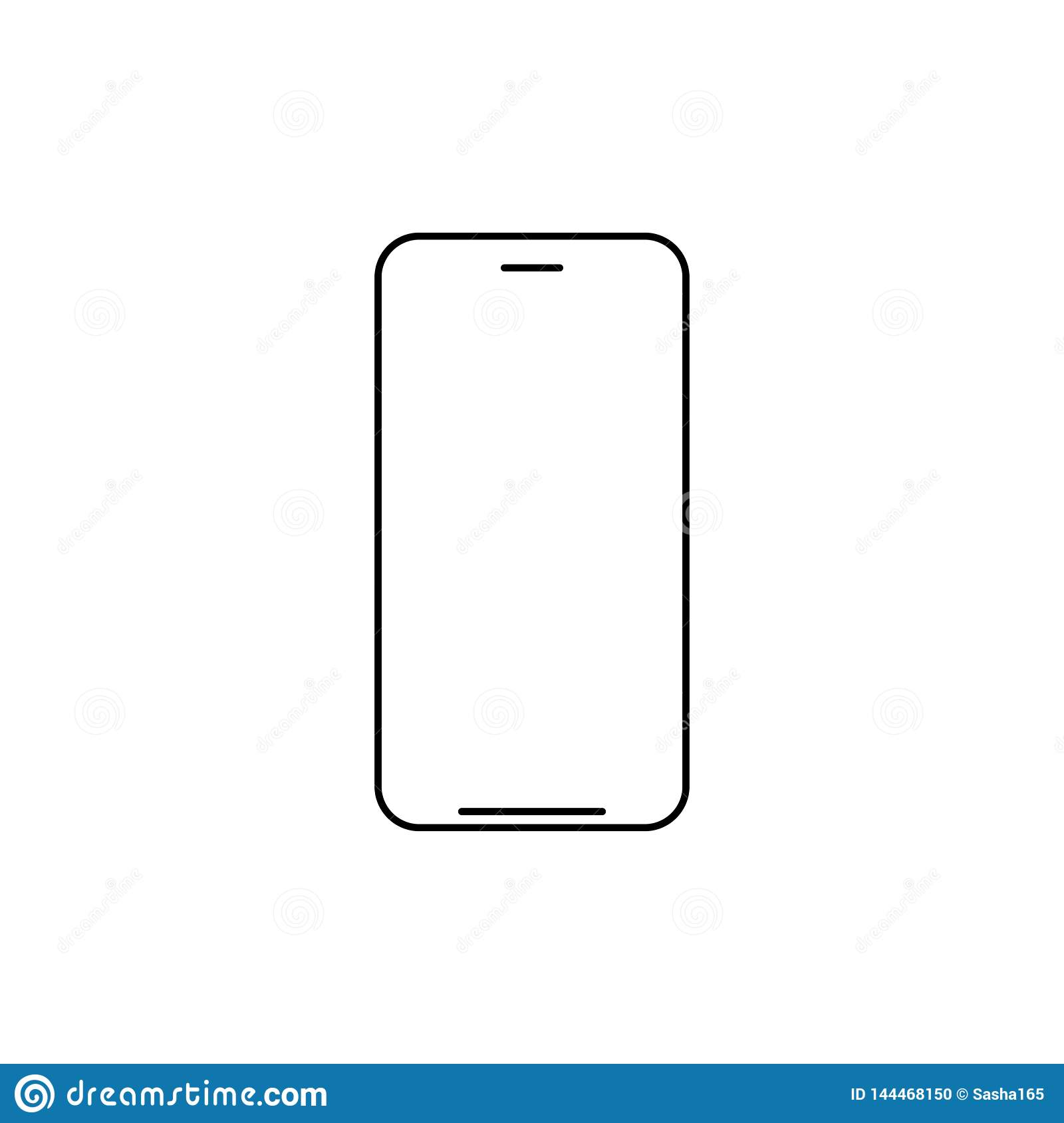 Cell Phone Icon >> Mobile Phone Icon Vector Line Art Outline Style Of Smartphone