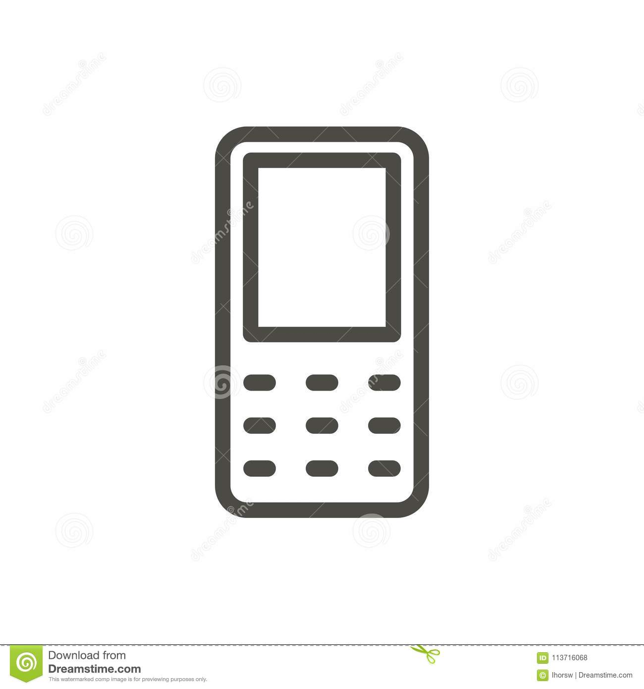 Mobile Phone Icon Vector Line Old Cellphone Symbol Stock Vector