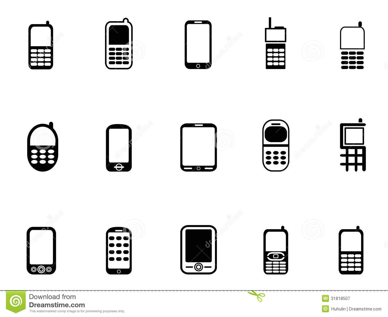 mobile phone icons stock vector  illustration of black