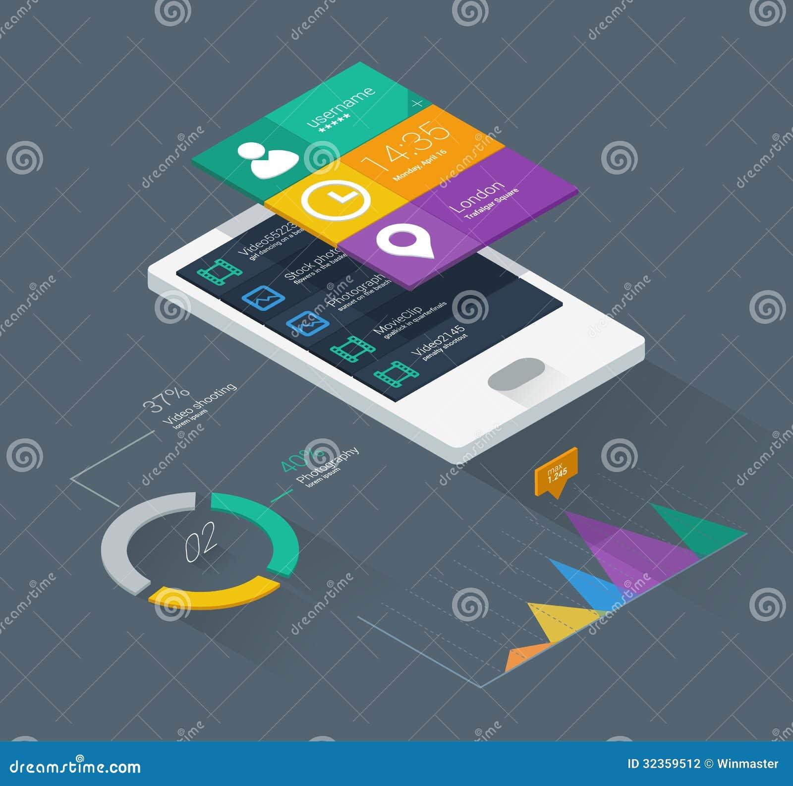 mobile phone infographics stock vector image of development 32359512. Black Bedroom Furniture Sets. Home Design Ideas