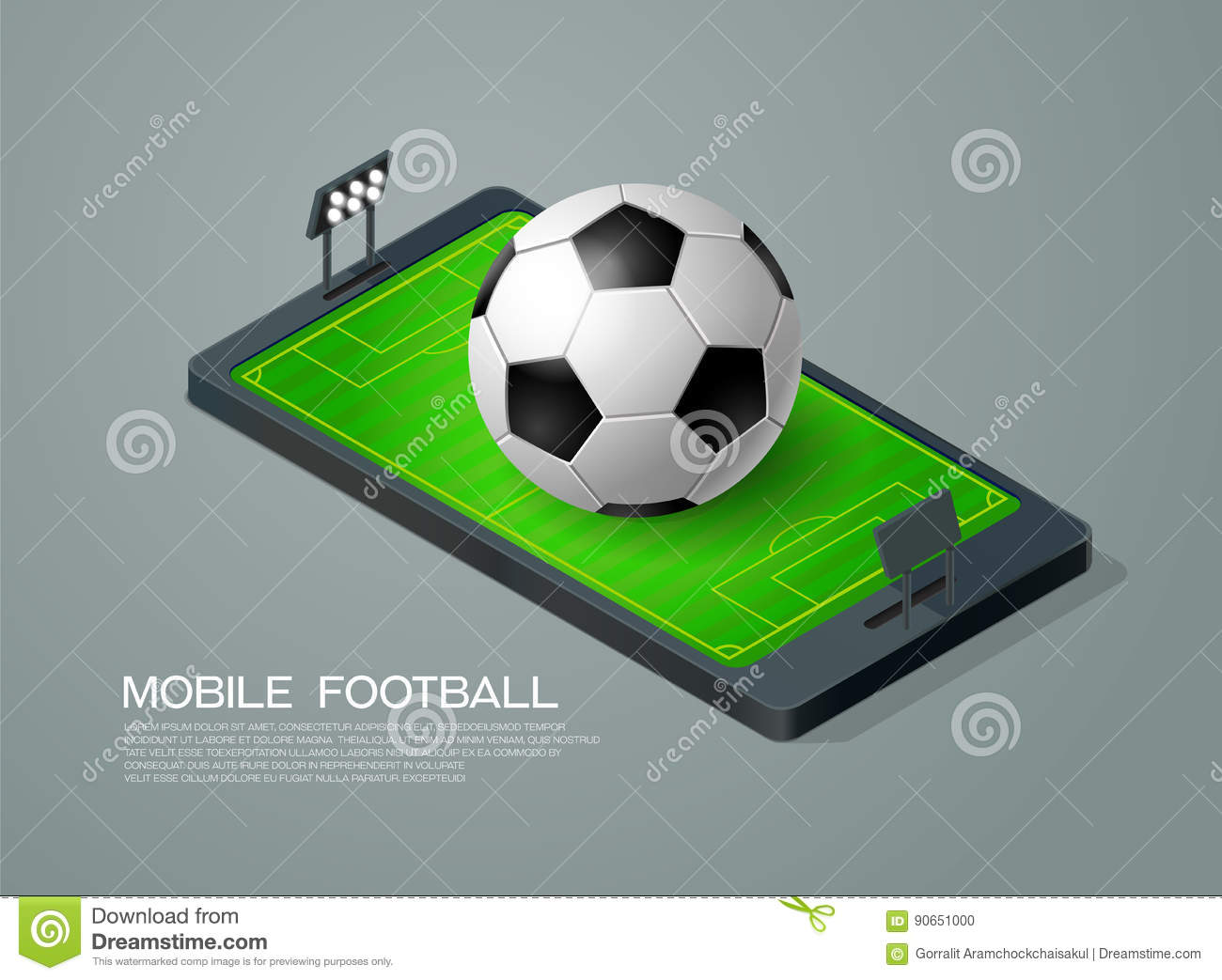 Mobile Phone Isometric And Soccer Football Live Stock Vector