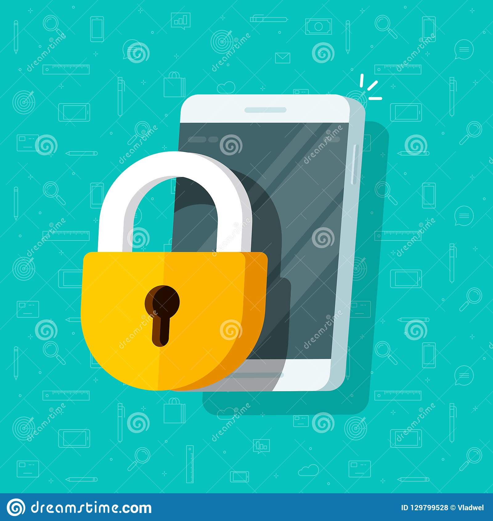 Mobile Phone With Lock Vector Illustration Flat Cartoon Locked Smartphone And Padlock Guard Concept Of Security Or Stock Vector Illustration Of Code Lock 129799528