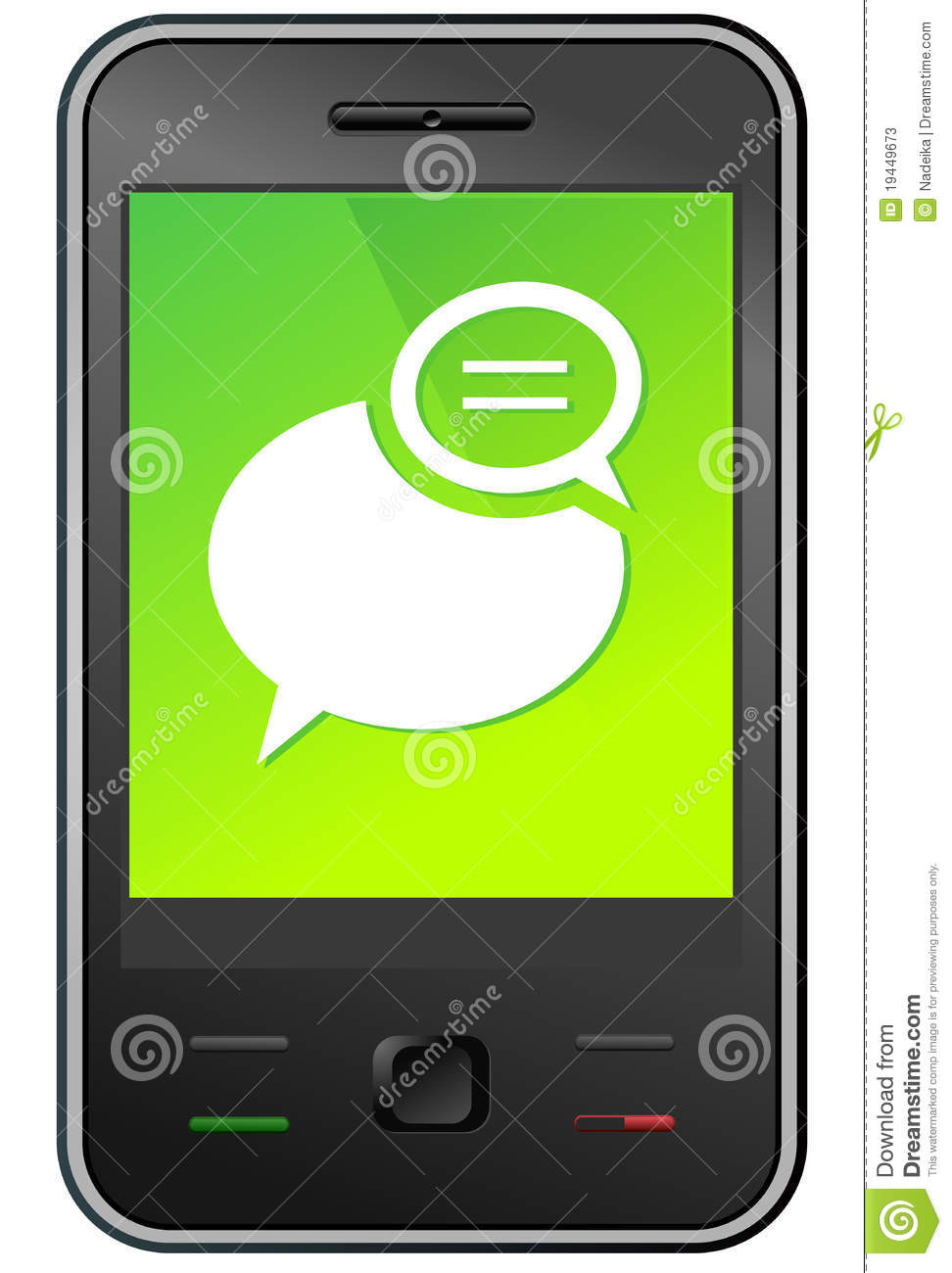 facebook chat mobile phone icon with time