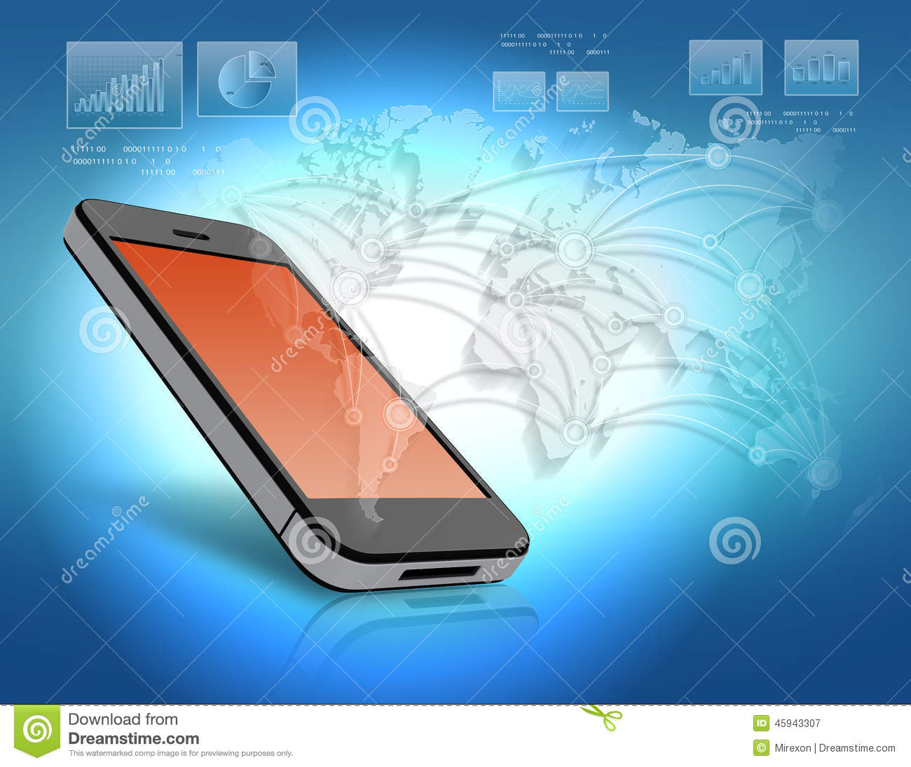 Mobile phone with orange screen and world map stock illustration mobile phone with orange screen and world map royalty free illustration download publicscrutiny Choice Image