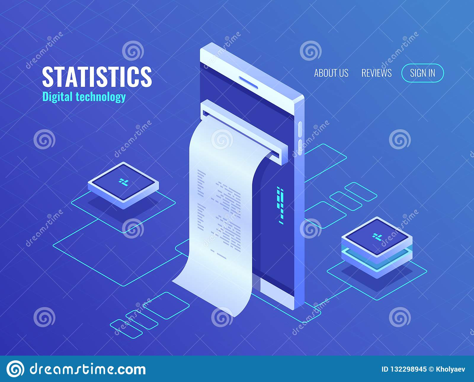 Mobile phone with payroll isometric icon, data on screen of smartphone, concept of data processing application 3d vector