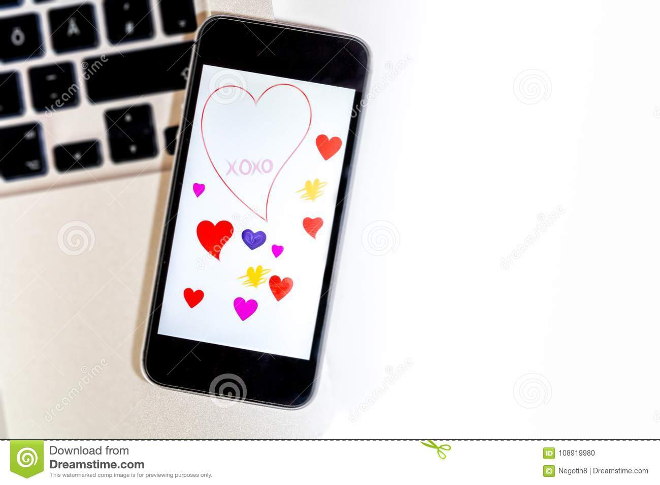 Valentines Greetings Hearts On Phone Screen Stock Photo Image Of