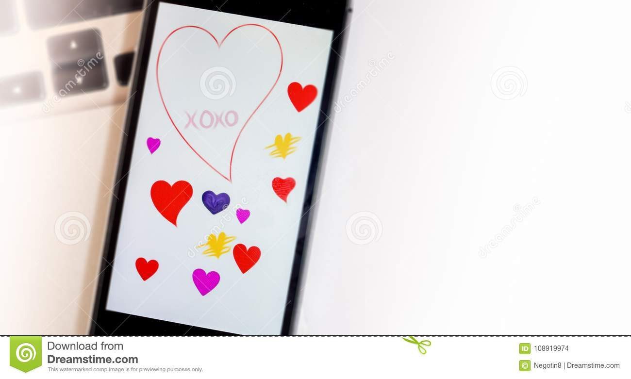 Valentines Greetings On Phone Screen Stock Photo Image Of Desk