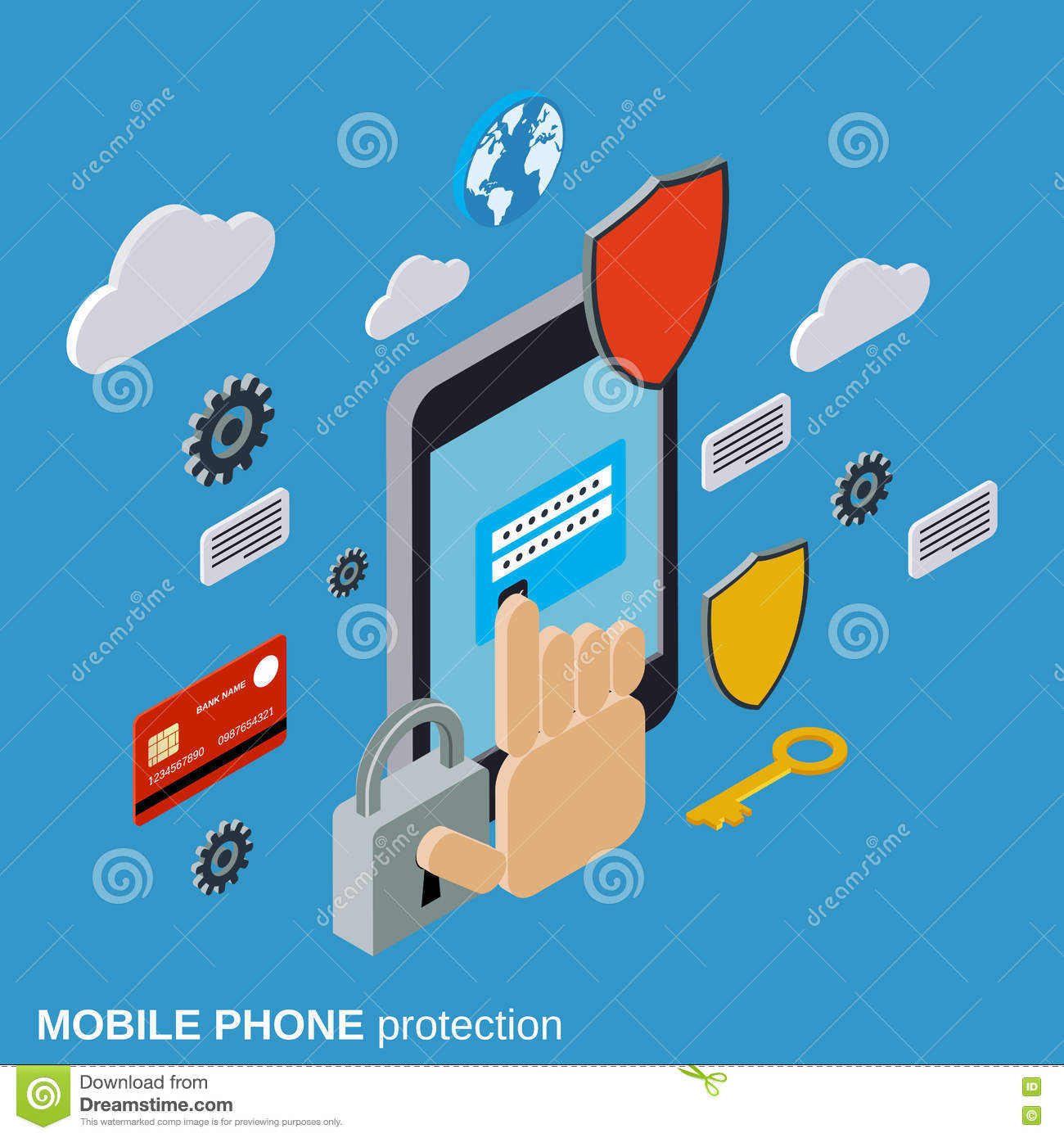 Shield And Smartphone With Lock Screen, Mobile Security ...
