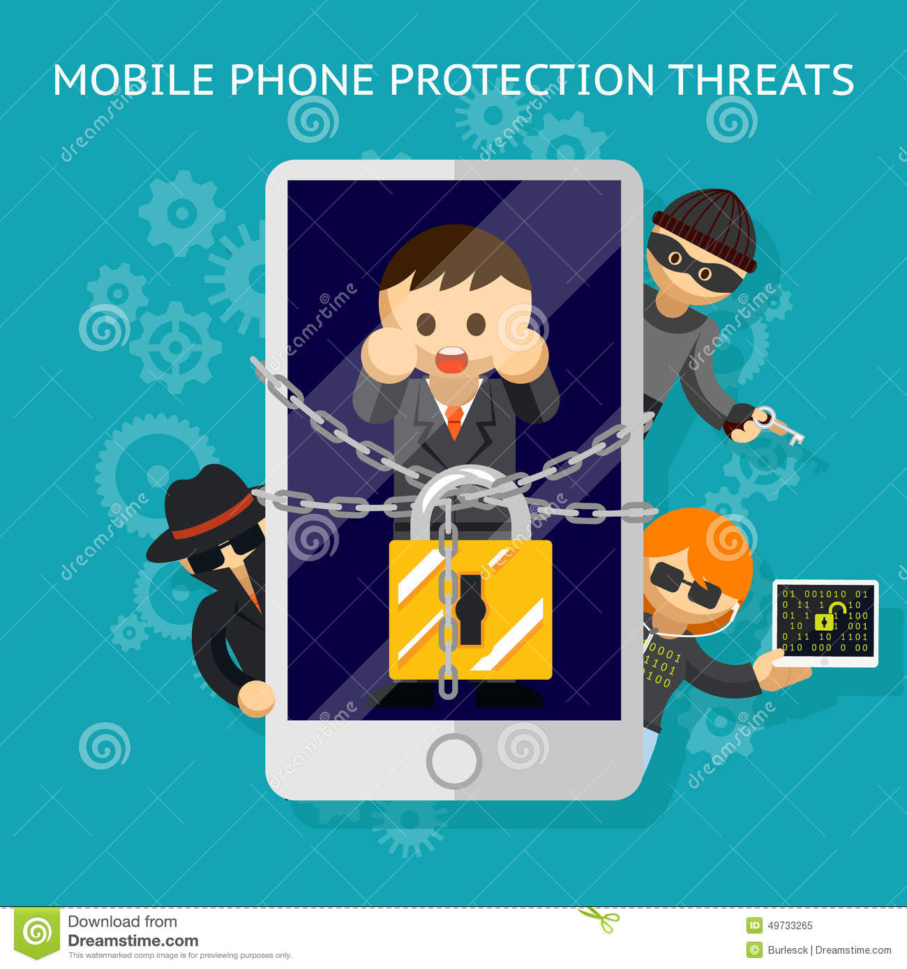 Mobile Phone Protection Threats. Security Against Stock ...