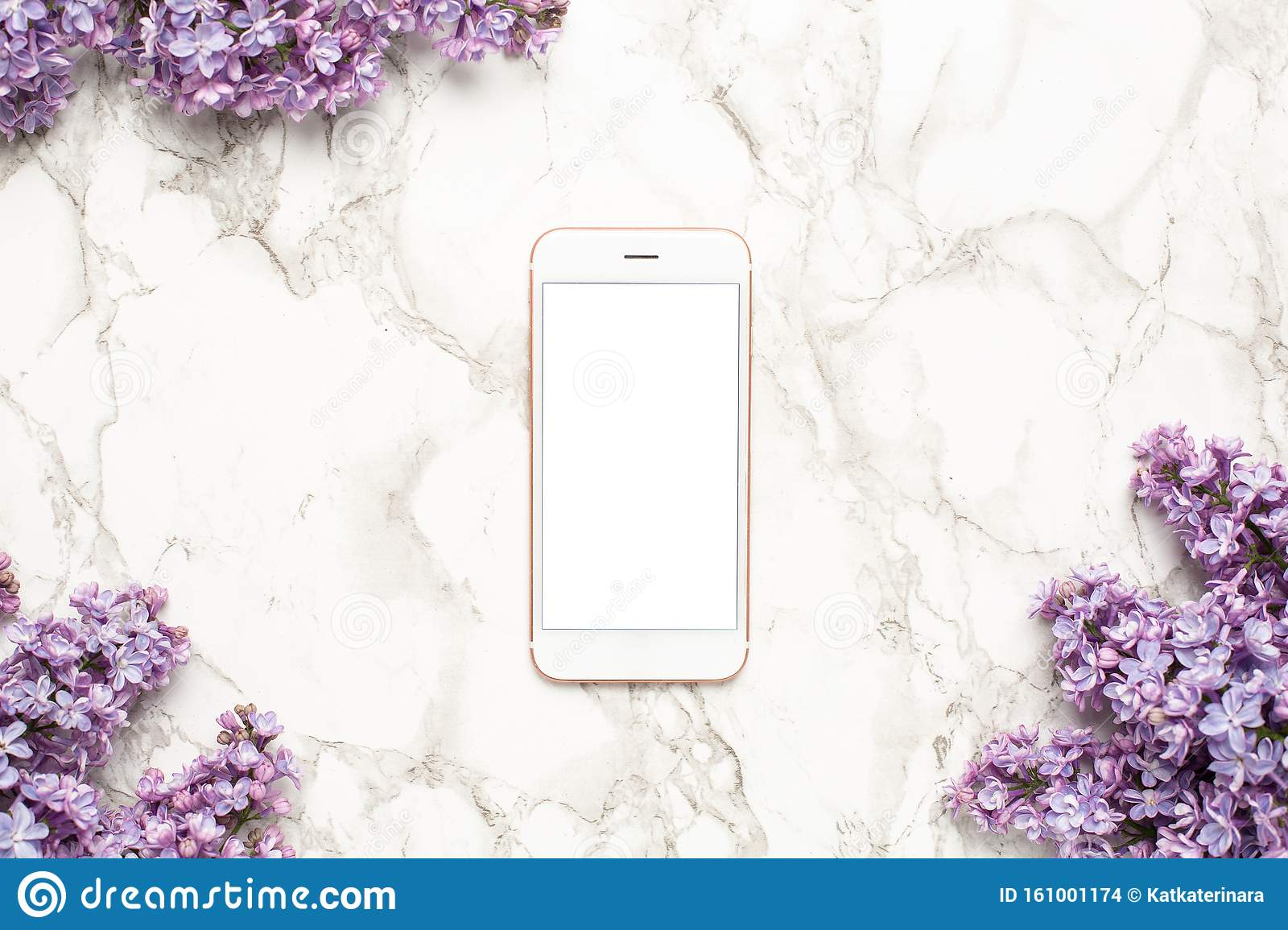 Mobile Phone And Purple Lilac Flowers On Marble Background Simple Business Composition With Spring Flower Stock Photo Image Of Phone Concept 161001174