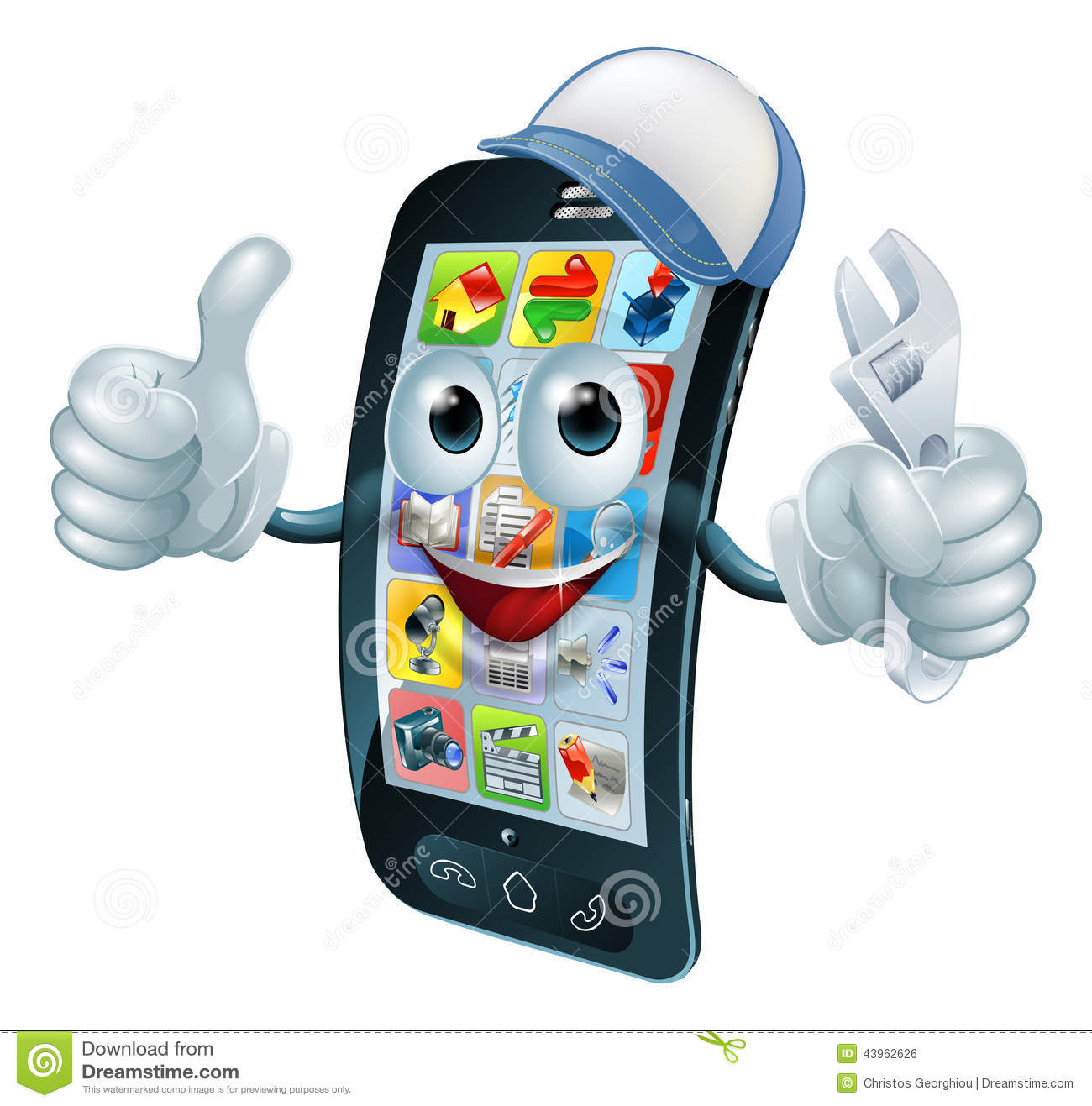 Mobile phone repair character with wrench or spanner giving thumbs up.