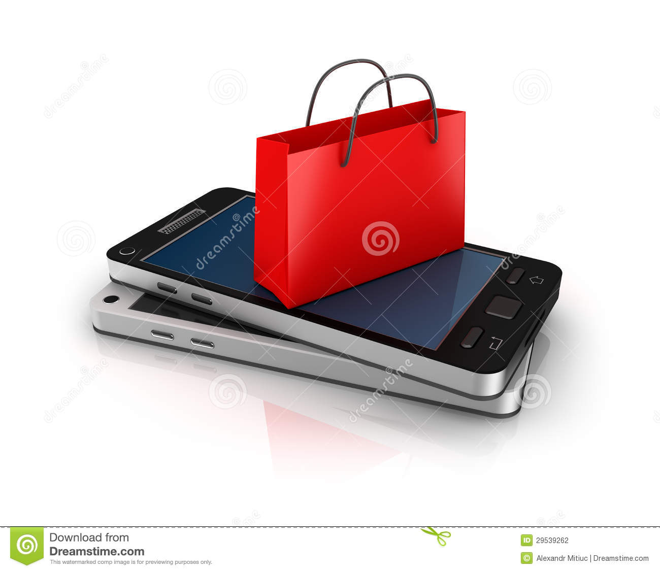 mobile phone with shopping bag online shopping concept. Black Bedroom Furniture Sets. Home Design Ideas