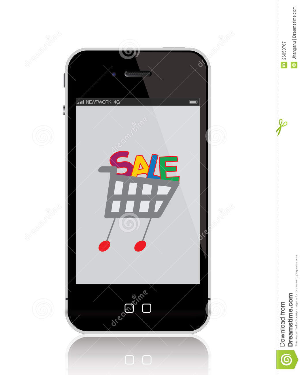 Mobile phone with shopping cart royalty free stock for Shop on line mobili
