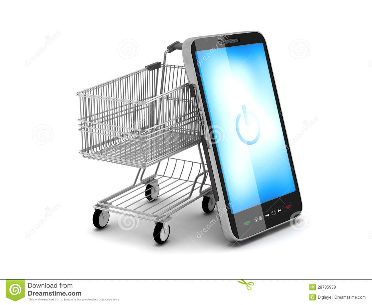 Mobile phone and shopping cart stock illustration for Shopping online mobili