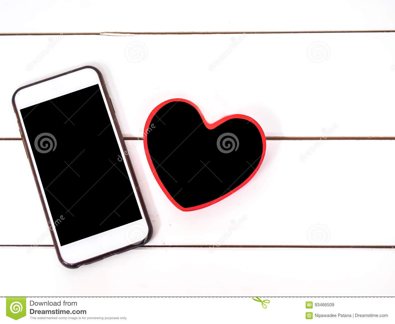 Mobile Phone With Small Board Heart Stock Image Image Of Feather