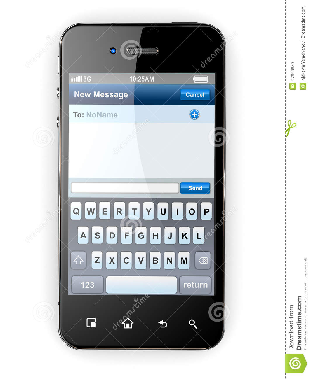 Mobile Phone With Sms Menu Screen Space For Text Stock