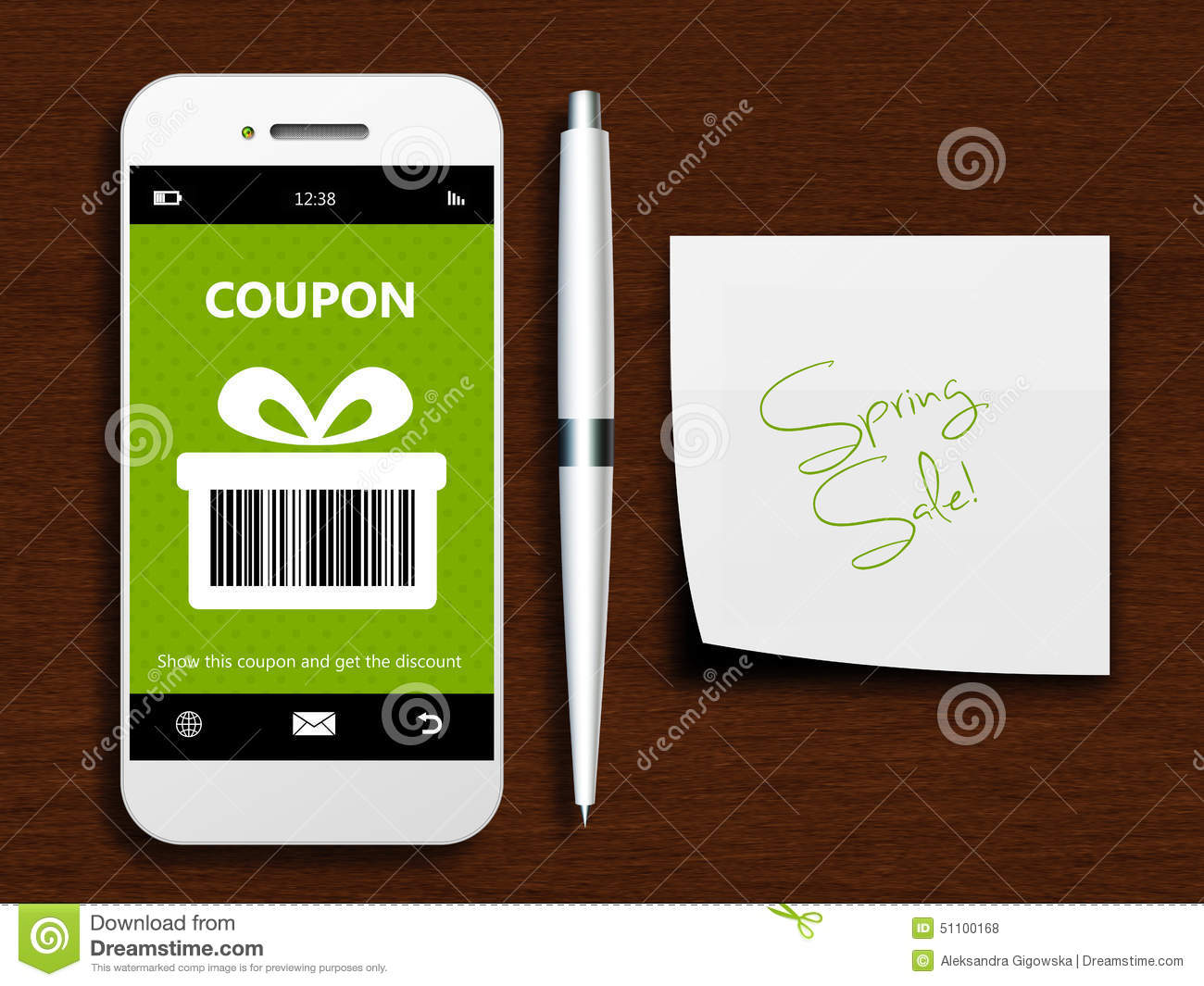 mobile phone with spring discount coupon and note lying on table stock illustration image. Black Bedroom Furniture Sets. Home Design Ideas