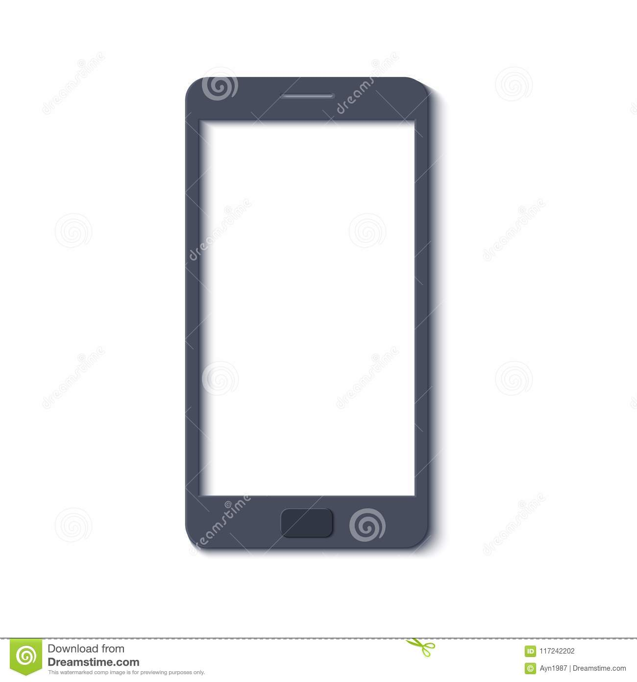 Mobile phone template in trandy paper cut style. Smartphone with.
