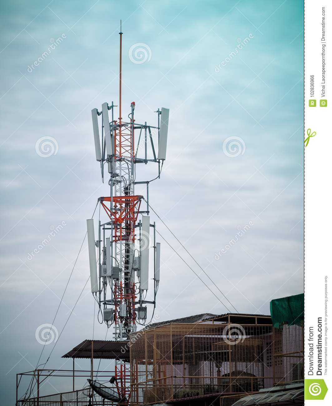 Mobile Phone Towers And 4G System Stock Photo - Image of
