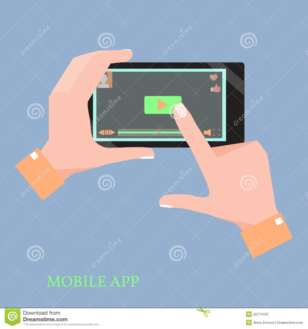Mobile Phone With Video Player App In The Human Hands  Stock Vector
