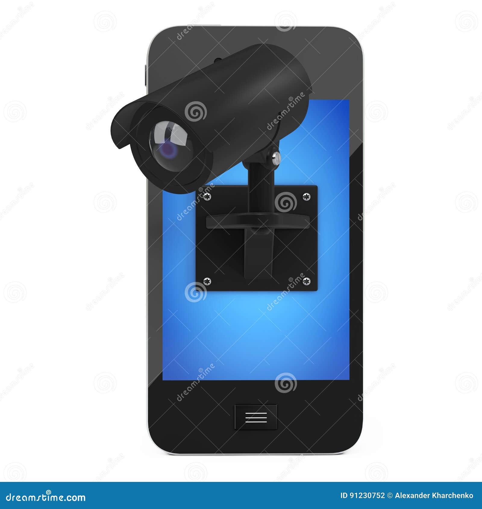 mobile phone with video security surveillance camera 3d renderi stock illustration image. Black Bedroom Furniture Sets. Home Design Ideas