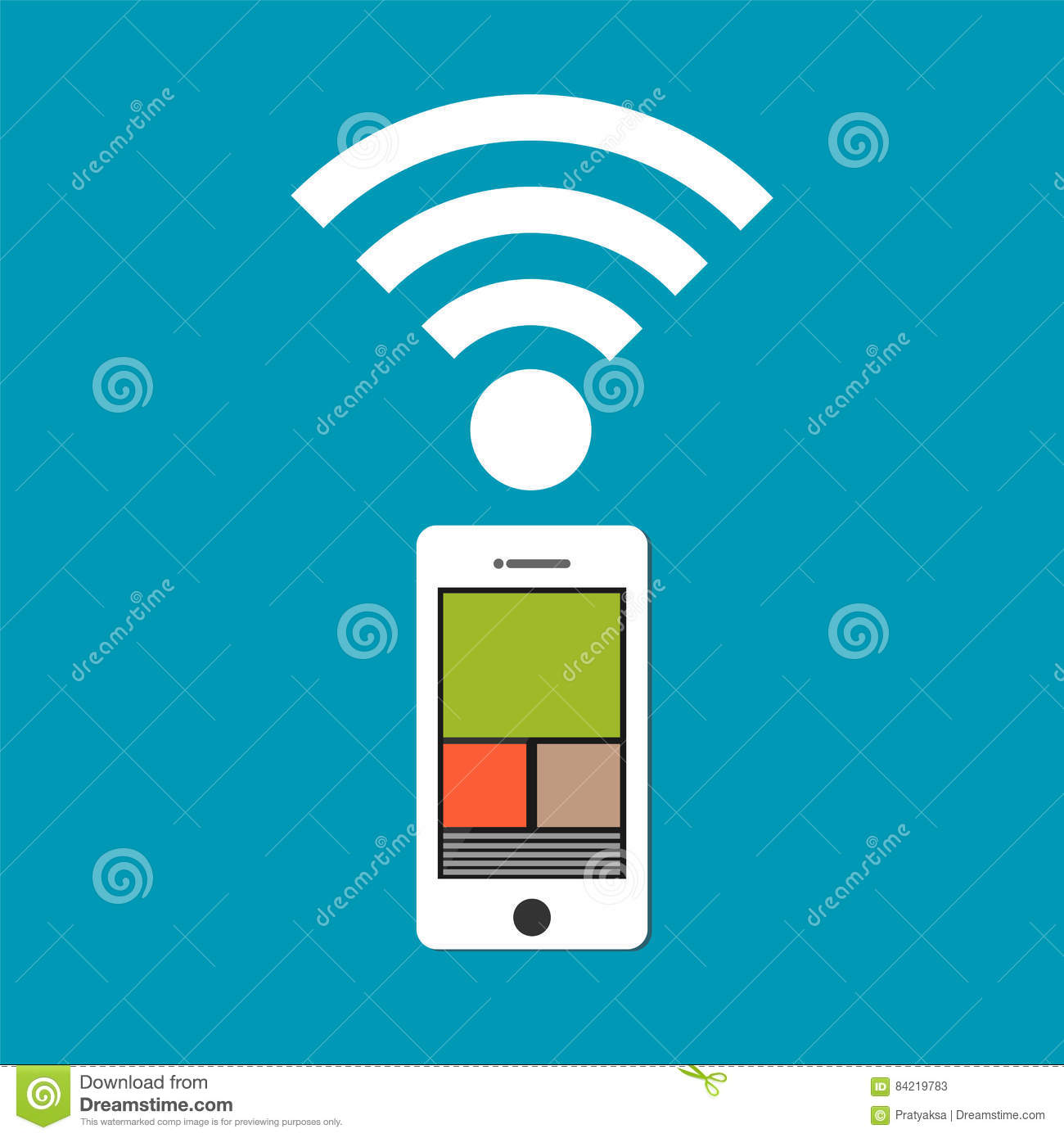 Mobile phone with wireless signal. Mobile technology